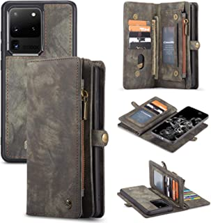 AKHVRS Galaxy S20 Ultra Wallet Case, Handmade Premium Cowhide Leather Wallet Case,Zipper Wallet Case [Magnetic Closure] Detachable Magnetic Case & Card Slots for Samsung Galaxy S20 Ultra Black