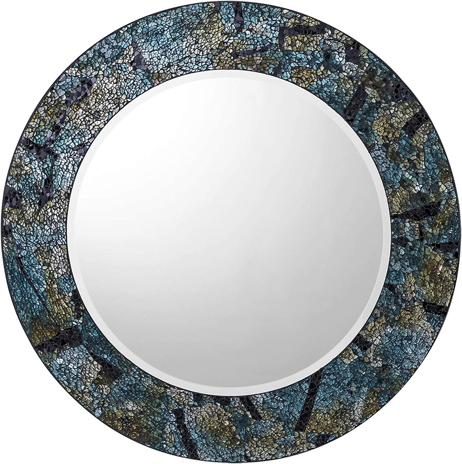"Gala Houseware Decorative Glass Mosaic Wall Mirror, 20"" Round Wall Mirror Elegant Home Décor for Living Room, Bathroom, Hallway or Bedroom. (bluee-Multi)"