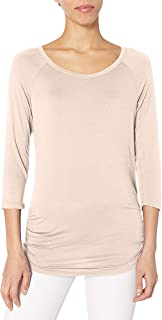 Paper + Tee Women's Scoop-Neck Side-Ruched Top