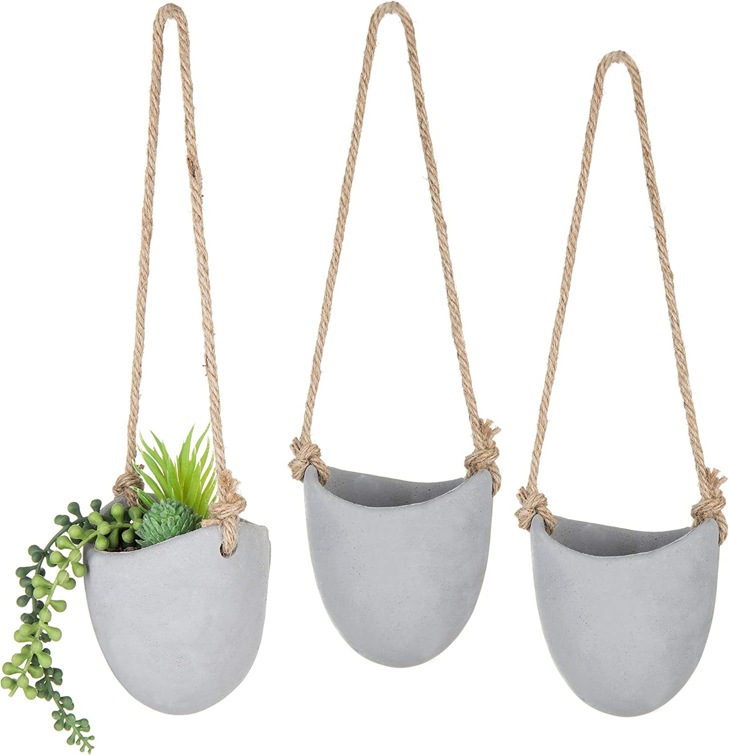 Max 78% OFF MyGift 4-inch Albuquerque Mall Rustic Gray Cement Wall-Hanging Pl Succulent Cacti