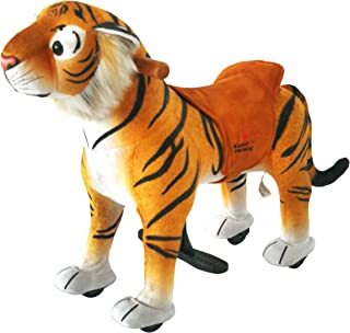 mofawangzi Saddle-Less Rocking Ride on Mini Tiger Toys Walking Horse Cycle Toy Giddy up Ride on with Wheels and Foot Rest Without Battery or Electricity Mechanical for 3-5 Age Children