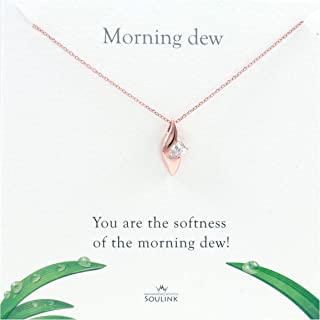 Soulink Natural Fresh Waterdrop Leaf Design Pendant Necklace Jewelry for Women