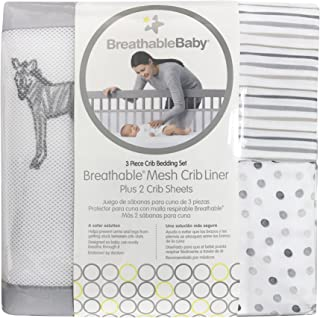 BreathableBaby 3pc Classic Crib Bedding Set – Watercolor Safari