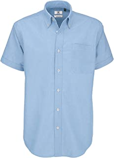 B&C - Camisa de manga corta Modelo Oxford (Tallas grandes) para Hombre Caballero - Fiesta/Trabajo/Eventos importantes