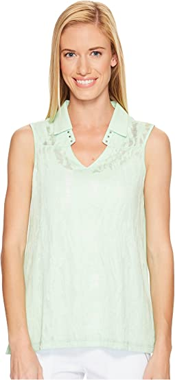 Sleeveless Burnout Top with Lining