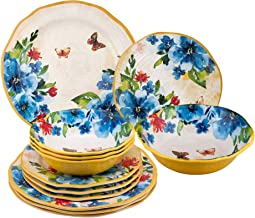 UPware 12-Piece Melamine Dinnerware Set, Includes Dinner Plates, Salad Plates, Bowls, Service for 4. (Butterfly)