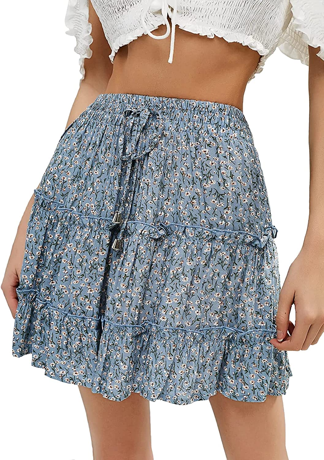 fancy-mano Women's Ruffle Online limited product Surprise price Mini Skirt Stretch Flared Floral Waist