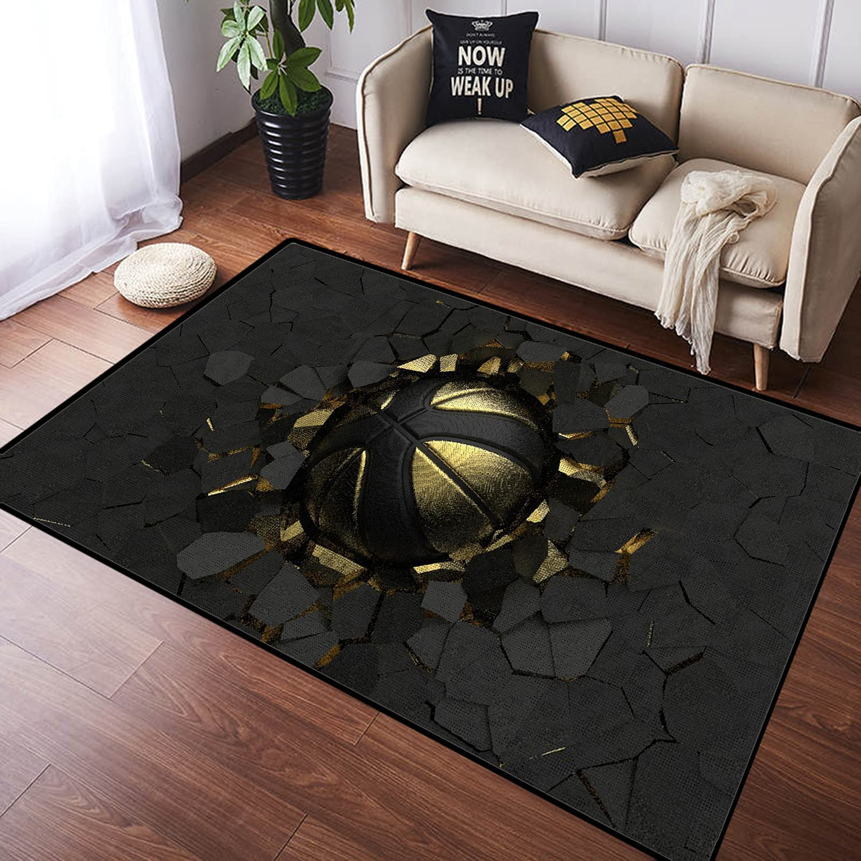 ZOMOY Long Floor Mat Carpet Geometric Max 50% OFF on Basketball G Gold Black Mail order cheap