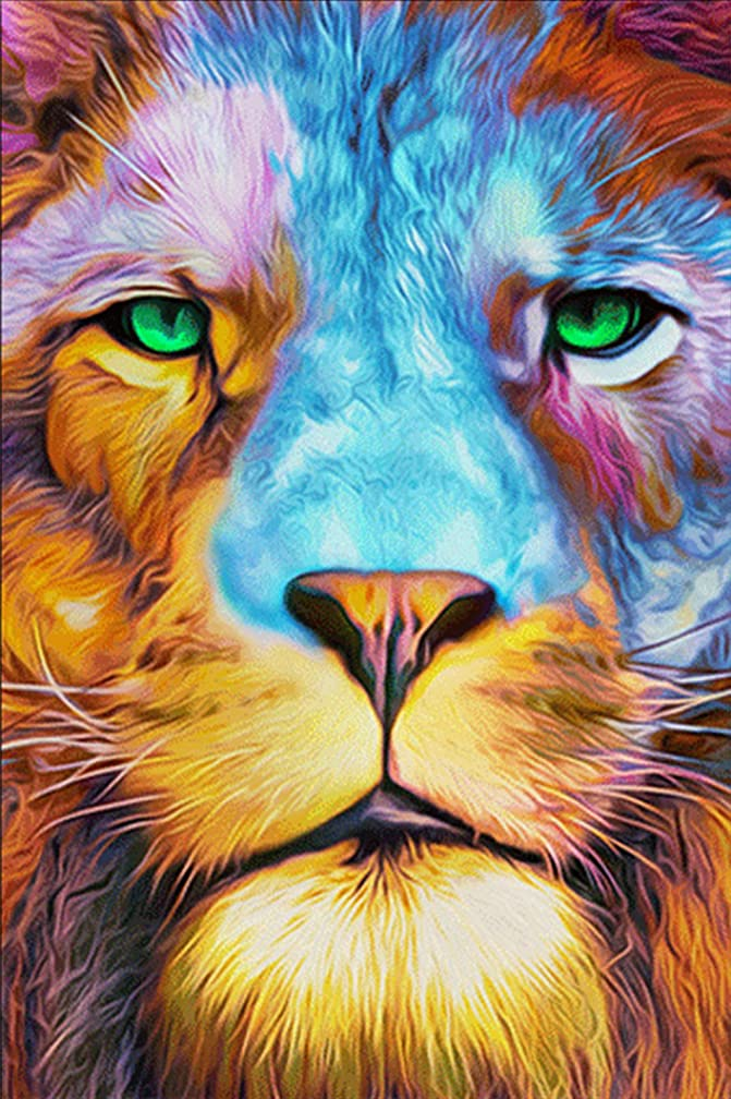 """eGoodn Diamond Painting Art Kit DIY Cross Stitch by Number Kit DIY Arts Craft Wall Decor, Full Drill 15.8"""" by 23.6"""", King of Lion, No Frame"""