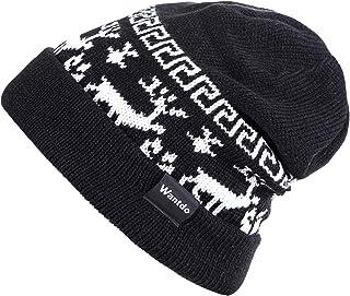 Wantdo Women Outdoor Soft Double Layer Fleece Lined Beanie Knit Hat