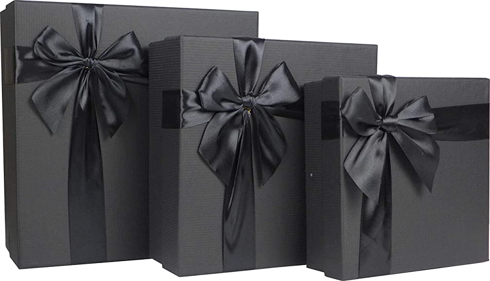 Cypress Lane Square Gift Boxes with Ribbon, 11 inches, a Nested Set of 3 (Black)