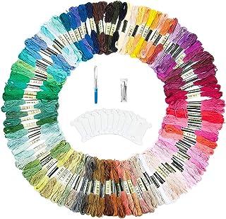 ZWOOS 143 PCS Stickgarn, Embroidery Floss Weicher Baumwolle, Stickerei Kreuzstich Set für Freundschaftsbänder, Stickerei 100 Farben