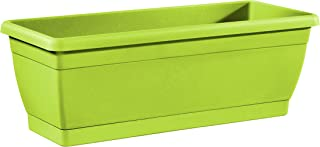 TABOR TOOLS Plastic 16 Inch Window Box Planter with Attached Saucer, for Indoor and Outdoor Use, Rectangular. VER502A. (Green)