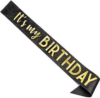 "CORRURE""It's My Birthday"" Glitter Sash for Women - Black Glitter Sash with Metallic Gold Foil - Birthday Sash for 18th 21s..."
