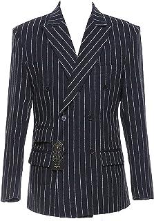 auguswu Mens Slim Fit Stripes Business Suit 3 Piece Separate £¨Blazer Pants Vest