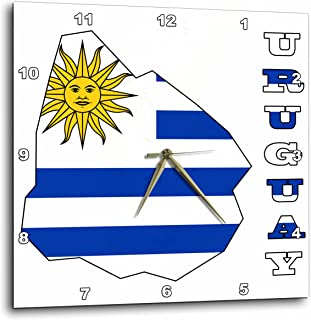 3dRose dpp_58712_2 Uruguay Flag in Outline Map and Letters of Uruguay-Wall Clock, 13 by 13-Inch