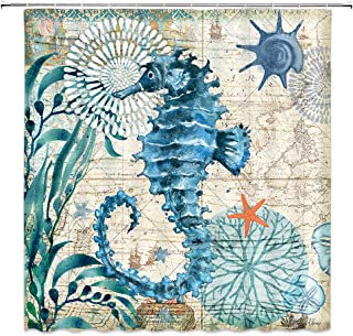 AMNYSF Vintage Colorful Seabed Scenic Sea Horse Decor Home Shower Curtain Marine Life,70x70 Inches Waterproof Polyester Fabric Bathroom Accessories Curtains with 12pcs Hooks