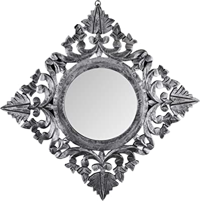 The Urban Store Decorative Hand Crafted Wooden Mirror Frame (Antique Silver Finish, 20 x 20)