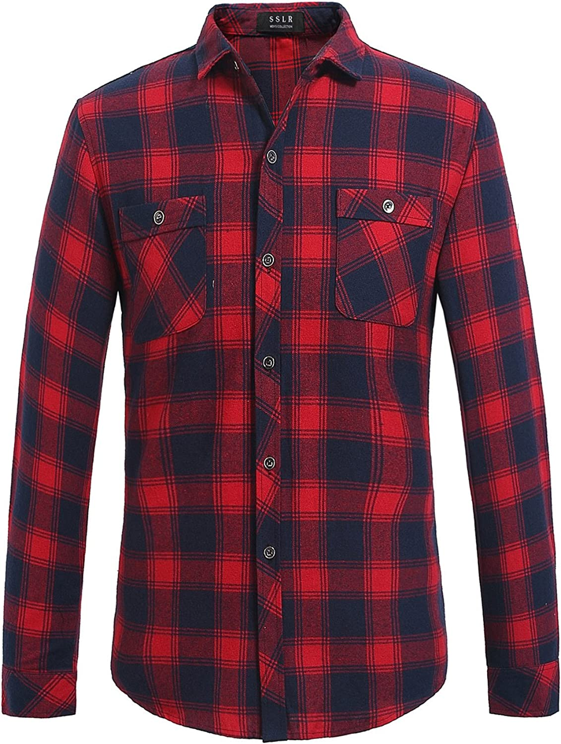SSLR Men's Gingham Button Down Slim Fit Casual Long Sleeve Flannel Shirt (XXLarge Navy Red)