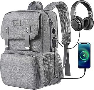 کیف ناهار زنانه ، کوله پشتی کولر عایق بندی شده لپ تاپ مدرسه Lunchbox کیف کتابی با پورت شارژ USB ، کیف کامپیوتر مقاوم در برابر آب مناسب لپ تاپ دخترانه 15.6 اینچی ، هدایای دانشجویی ، خاکستری