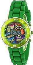 Ninja Turtles Kids' Digital Watch with Matallic Green Bezel, Flashing LED Lights, Green Strap - Kids Digital Watch with Te...