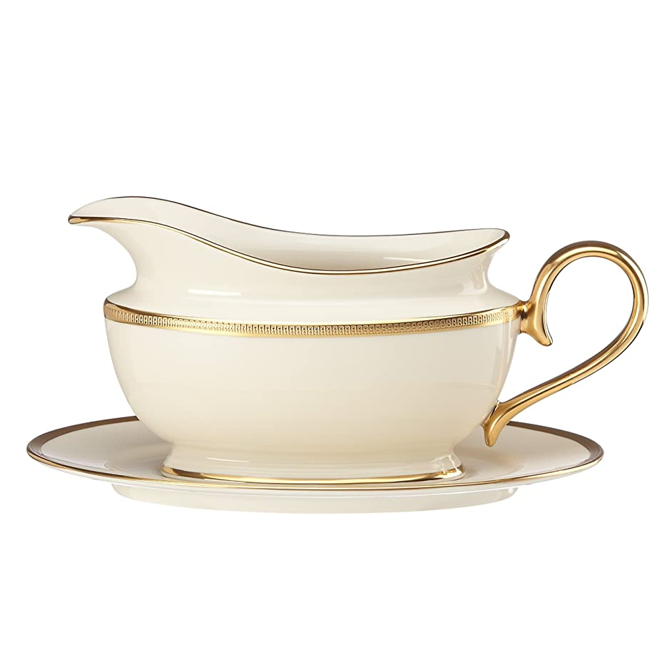 Lenox Tuxedo Sauce Boat and Stand, Ivory