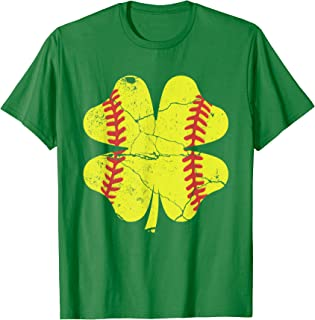 Vintage Shamrock Softball Shirt St Patricks Day Womens Girls T-Shirt