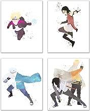 Watercolor Boruto Poster Prints - Set of 4 (8x10) Glossy Anime Shonen Manga Wall Art Decor - Boruto Uzumaki - Sarada Uchiha - Mitzuki - Naruto Uzumaki - Sasuke Uchiha