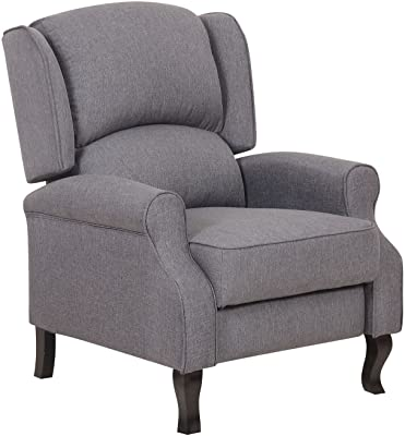 Container Furniture Direct Lily Modern Wing-Back Fabric Accent Recliner Chair, Grey
