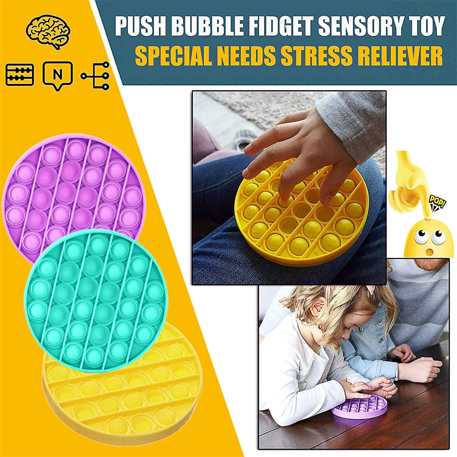 Green /& Purple, Round Autism Special Needs Stress Reliever Deelife 2 Pack Push pop Bubble Sensory Fidget Toy Squeeze Sensory Toy for Kids and Adults Silicone Stress Reliever Toy
