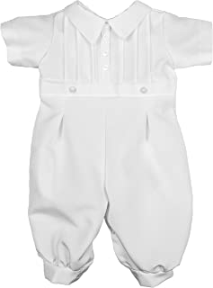 Little Things Mean A Lot Baby Boys White Short Sleeve Collared Romper Coverall with Pin-Tucking