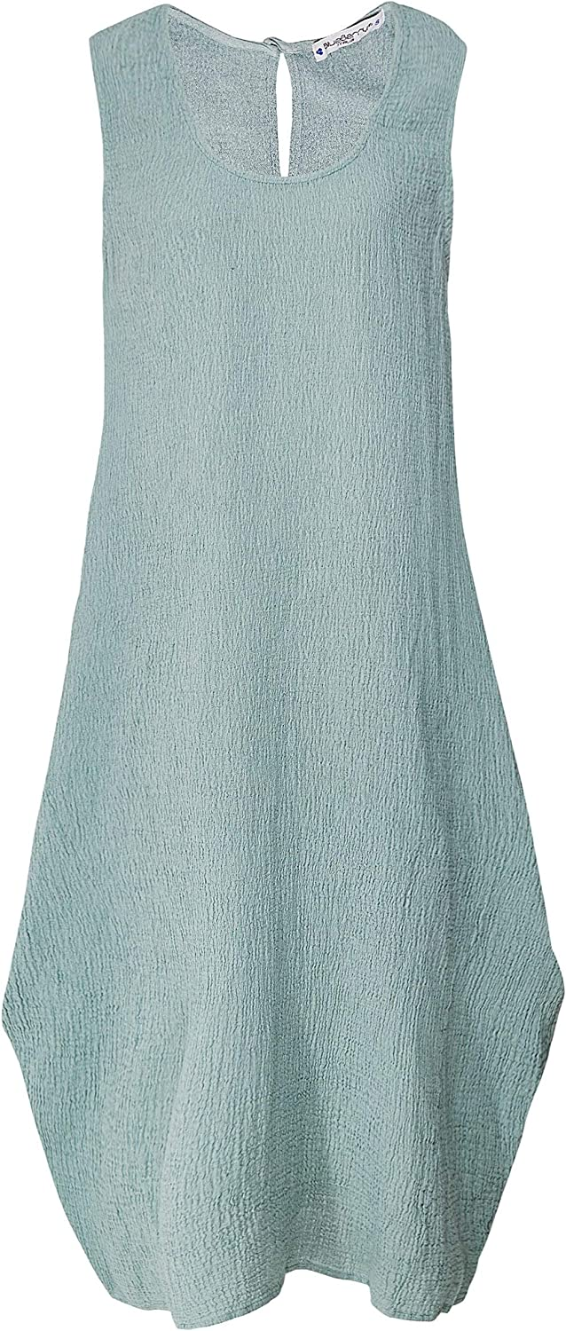 blueeberry Italia Women's Linen Sleeveless Crepe Dress Mint