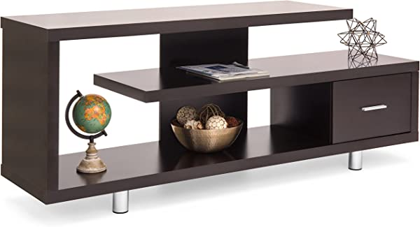 Best Choice Products Living Room Home Entertainment Media Console TV Stand Display W 3 Shelves Sliding Drawer Brown