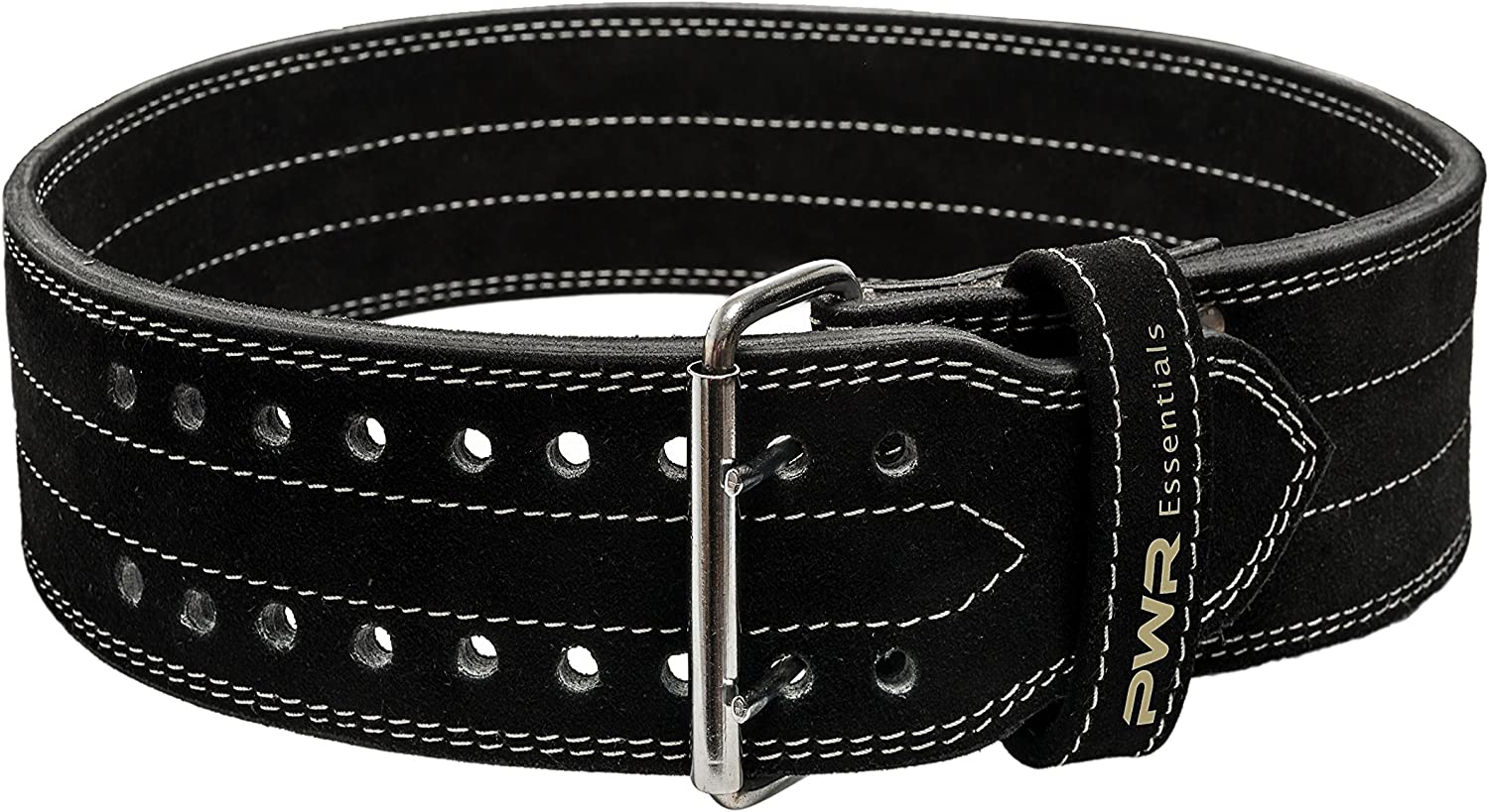 (XL, Double Prong Buckle) - PWR Essentials Leather Weightlifting Belt (Black) Wide Olympic Style Powerlifting, Gym, CrossFit, Exercise Back Support Heavy Duty Men Women