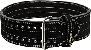 PWR Essentials Leather Weightlifting Belt (Black) Wide Olympic Style | Powerlifting, Gym, Crossfit, Exercise Back Support | Heavy Duty | Men Women