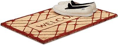 Relaxdays Fußmatte Welcome aus Kokos, rutschfest Paillasson Fibres de Coco, PVC, Rouge, 80 x 150 cm