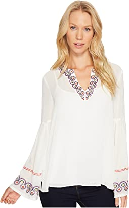 Spilt Next Embroidered Dropped Bell Sleeve Top