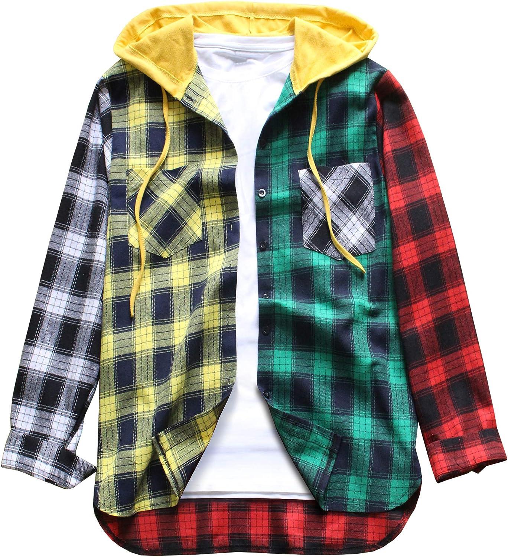 LifeHe Men Women Hooded Hipster Plaid Shirts Colour Block Long Sleeve Button Down Shirt Jackets Oversized