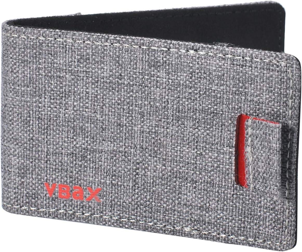 Mens Minimalist Slim Wallet - RFID Front Pocket Credit Card Holders for Men Women (Grey Canvas)