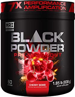 MRI Black Powder Pre-Workout Powder - Explosive Energy & Stamina - Intense Strength and Focus - Build Muscl...