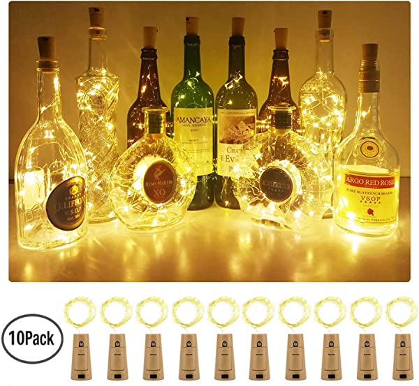 Aluan Wine Bottle Lights With Cork 10 Pack 12LED Fairy Lights Battery Operated Wine Cork Lights Christmas String Lights For Party Wedding Christmas Halloween Bar Jar Lamp Decor Warm White