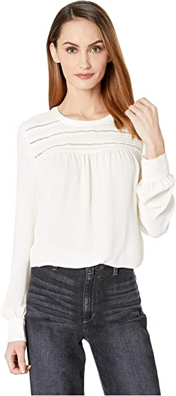 Long Sleeve Pintuck Yoke Soft Texture Blouse