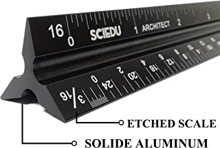 Etched and Solid Aluminum Architect Scale, SciEdu Triangular Ruler (Imperial)