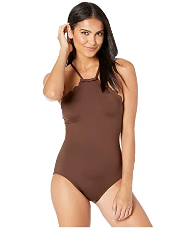 Kate Spade New York Core Solids #79 Scalloped High Neck One-Piece w/ Removable Soft Cups (Espresso) Women