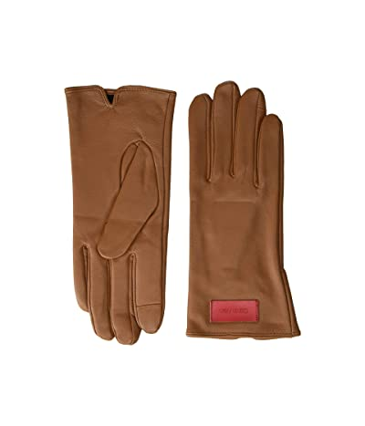 Calvin Klein Basic Leather Touch Gloves (Camel) Over-Mits Gloves