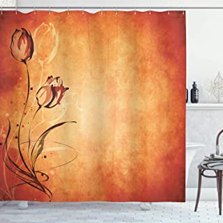 Ambesonne Antique Shower Curtain, Vintage Aged Background with The Silhouette of Rose Bloom Digital Image, Cloth Fabric Bathroom Decor Set with Hooks, 75