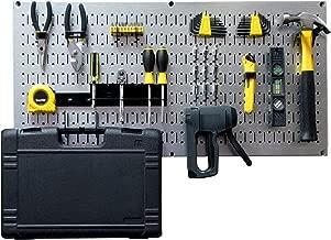 Wall Control Modular Pegboard Tool Organizer System - Wall-Mounted Metal Peg Board Tool Storage Unit for Pegboard Tiling (Metallic Pegboard)