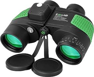 Image of ESSLNB 7X50 Marine Binoculars IPX7 Waterproof Binoculars for Boating with Illuminated Rangefinder and Compass BAK4 Prism FMC Military Floating Binoculars for Navigation Hunting w/Bag and Strap