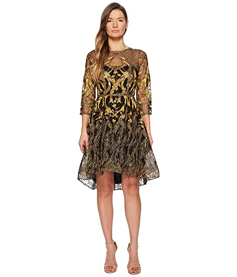 marchesa notte 3/4 length sleeve embroidered hi-lo cocktail w/ metallic lace trim