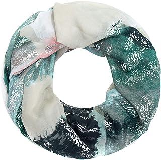 Faera weicher und leichter Damen Sommer-Schal mit Gold- oder Silber-Druck Loopschal Rundschal in verschiedenen Farben